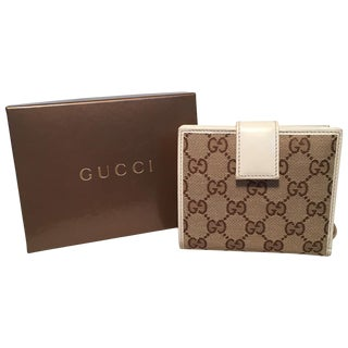 Gucci Gg Monogram and Beige Leather Wallet With Zip Pocket and Box For Sale