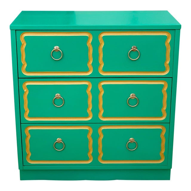 Vintage Mid Century Dorothy Draper Style Three Drawer Chest For Sale