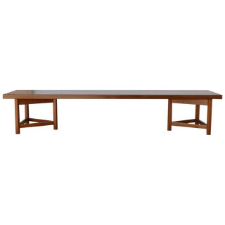 Mid-Century Long Low Solid Teak Plank Bench or Table For Sale
