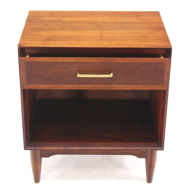 Brown Pair of Mid-Century Modern Walnut End Tables with Brass Pulls For Sale - Image 8 of 10