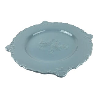 Blue Ceramic Rooster Plate For Sale