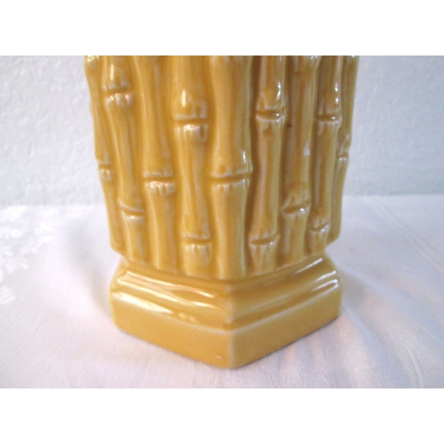 Midcentury Yellow Bamboo Design Table Lamp - Image 3 of 7