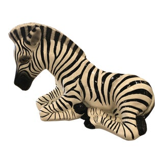 Vintage Hollywood Regency Plaster Large Zebra Statue For Sale