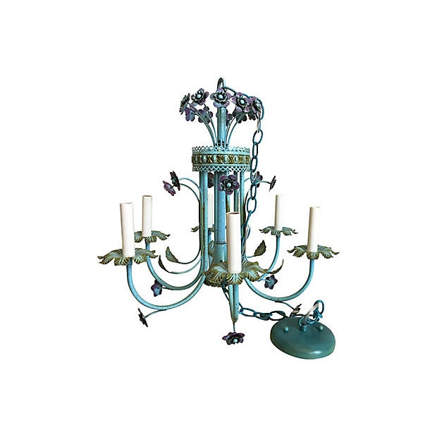 Lights Mid-Century Italian Floral Chandelier For Sale - Image 7 of 8