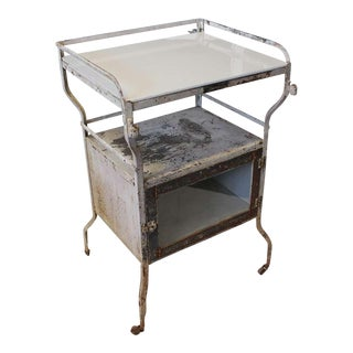 1930's Vintage Industrial Medical Cabinet Bar Cart For Sale