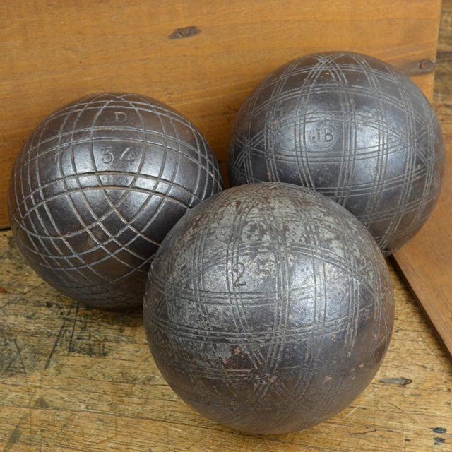 Antique French Iron Boules Set With Case For Sale - Image 12 of 13