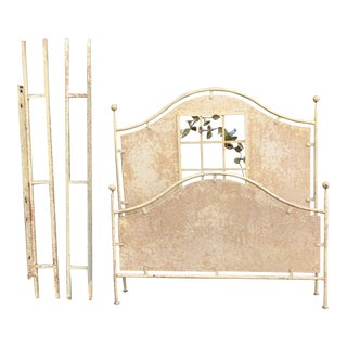 French Painted Iron Queen Size Bedframe For Sale