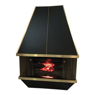 Mid Century Black and Gold Dyna Flame Electric Fireplace Heater For Sale