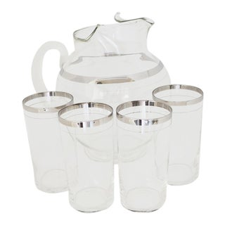 MacBeth-Evans Platinum Band Tumblers and Pitcher - Set of 5 For Sale