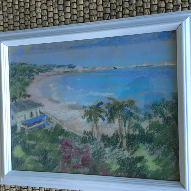Original Oil Pastel Caribbean Coastline Seascape Framed Art - Image 9 of 10
