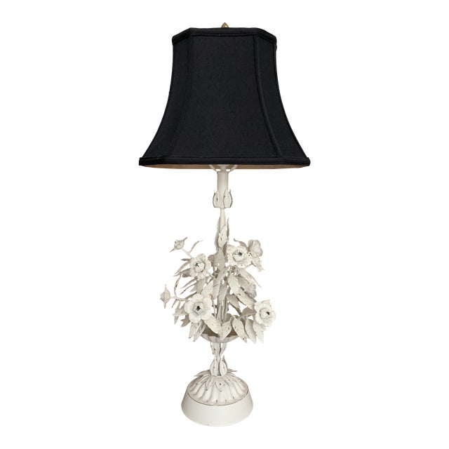 Vintage Mid Century Modern White Tole Floral Lamp For Sale