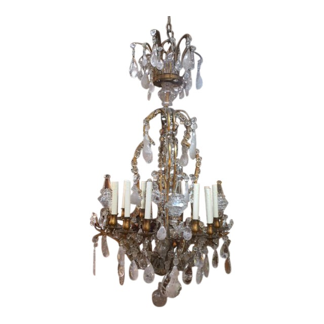1900s Antique French Rock Crystal Dore Bronze Chandelier - 1900s Antique French Rock Crystal Dore Bronze Chandelier Chairish