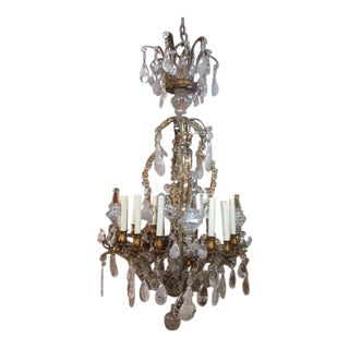 1900s French Rock Crystal Dore Bronze Chandelier For Sale