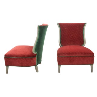 1960s Vintage Tulip Shaped Tufted Velvet Slipper Chairs- a Pair For Sale