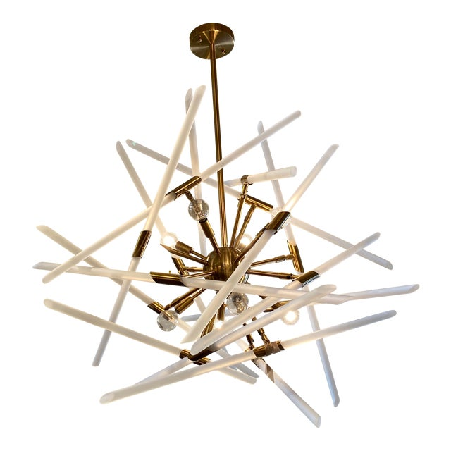 Contemporary Frosted Glass Rods and Brass Sputnik Center Chandelier For Sale