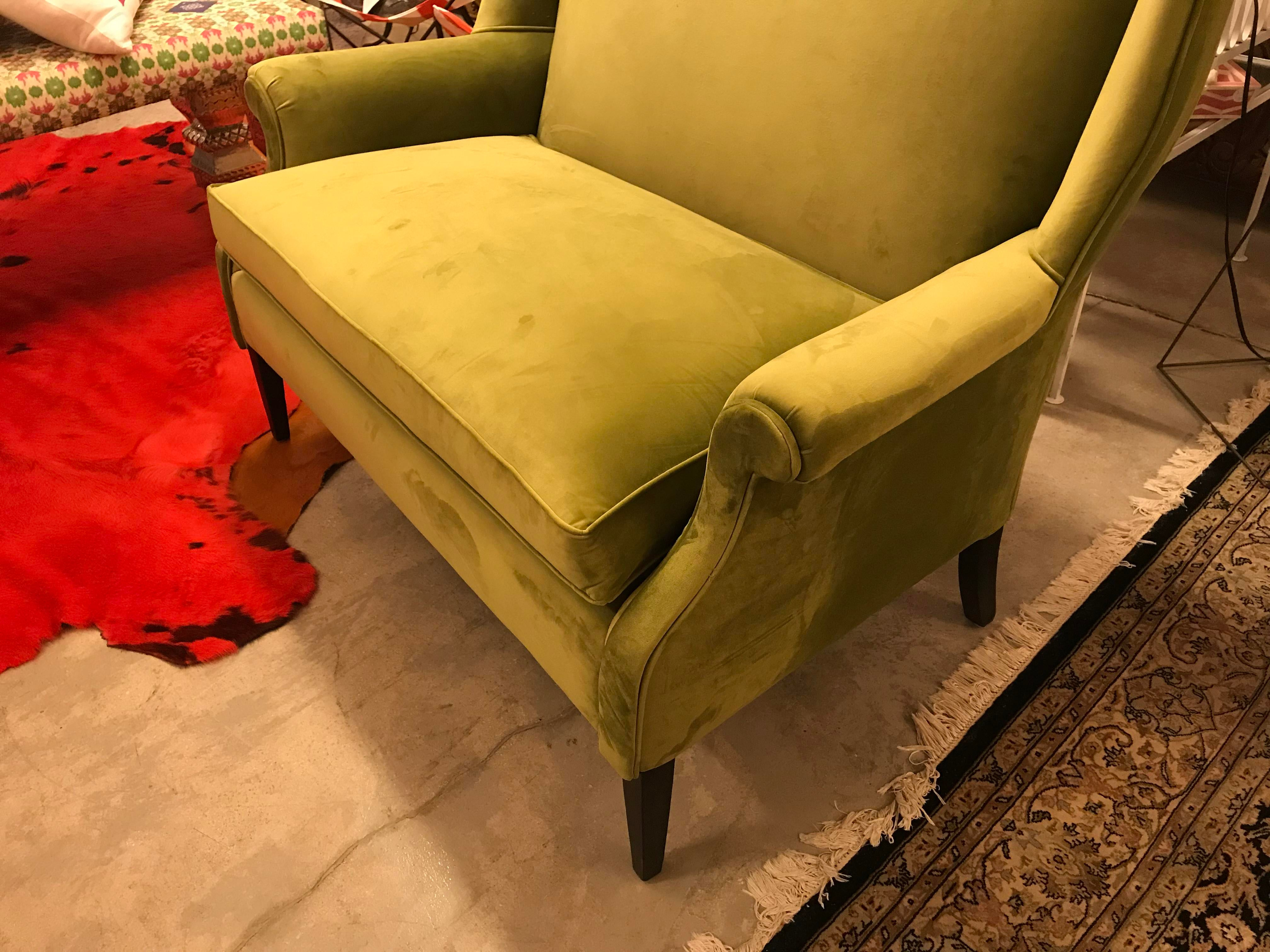 Mid Century Restored, Chartreuse Green Velvet, Wingback Sofa With A Single  Cushion For