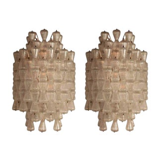 Pair of Magnificent and Large Barovier & Toso Glass Sconces For Sale