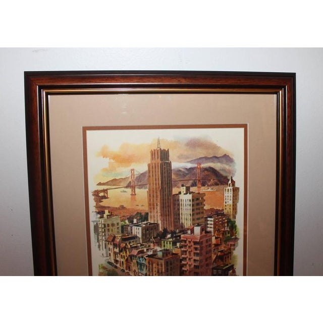 Modern Signed C. Macourlard San Francisco Watercolor For Sale - Image 3 of 5