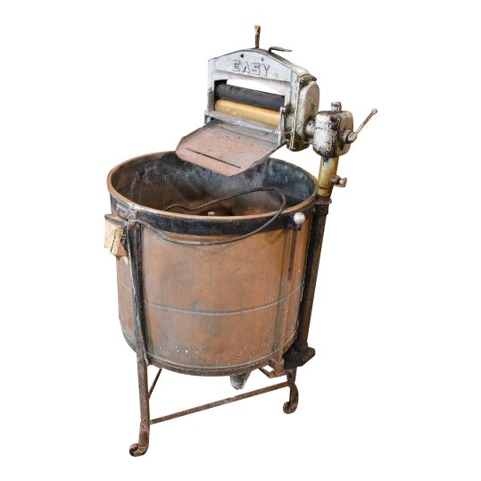 antique easy primitive copper wash tub wringer washing machine chairish. Black Bedroom Furniture Sets. Home Design Ideas