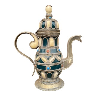 Vintage Moroccan Bone Inlaid Teapot For Sale