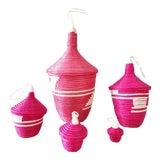 Image of African Lidded Baskets, Set of 5 For Sale