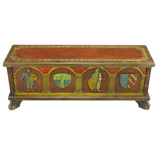 Artes De Mexico Spanish Revival Polychrome Wood Blanket Chest For Sale