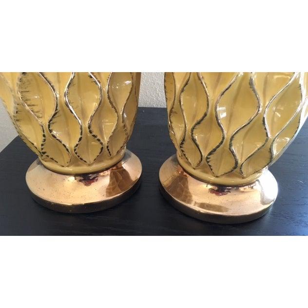 Yellow Mid Century Ceramic Lamps - Pair - Image 5 of 6