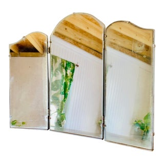 Art Deco Frameless Triptych Tri Fold Silver Mirror For Sale