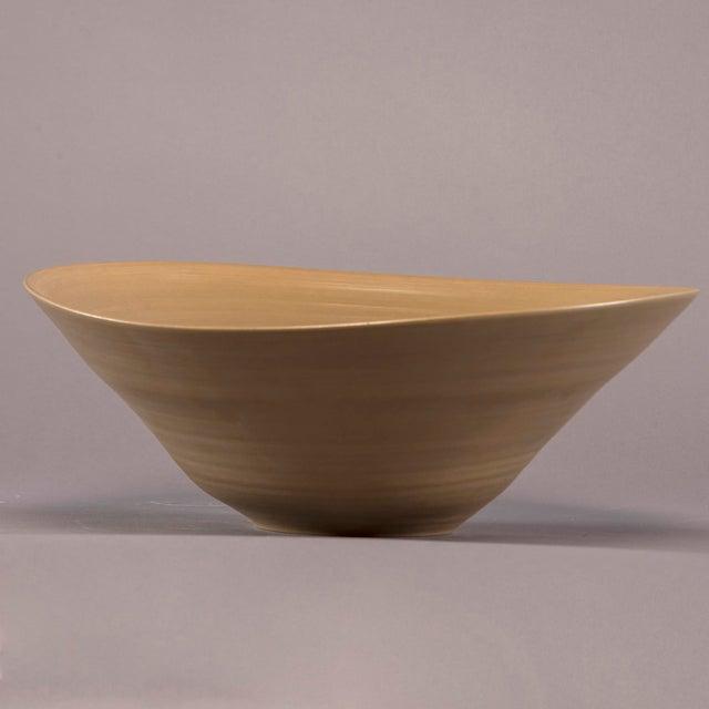 Italian Medium Hand Crafted Italian Deep Ceramic Bowl in Cappuccino Glaze For Sale - Image 3 of 5