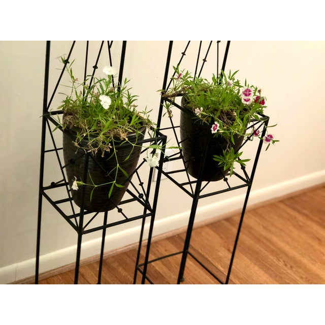 Late 20th Century Iron Trellis Plant Stands - a Pair For Sale - Image 11 of 12