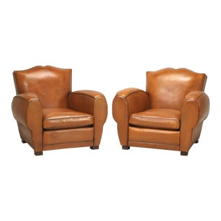 Restored French Art Deco, Original Moustache Leather Club Chairs - a Pair