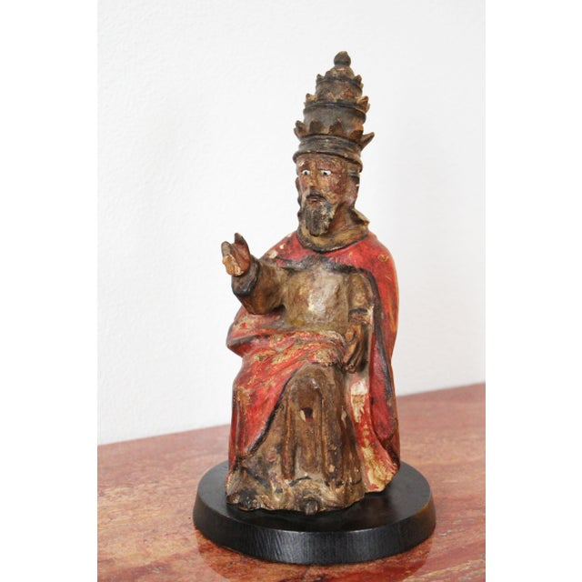 17th Century Indo-Portuguese Pope Saint Peter, Religious Baroque Wood Sculpture For Sale - Image 6 of 12