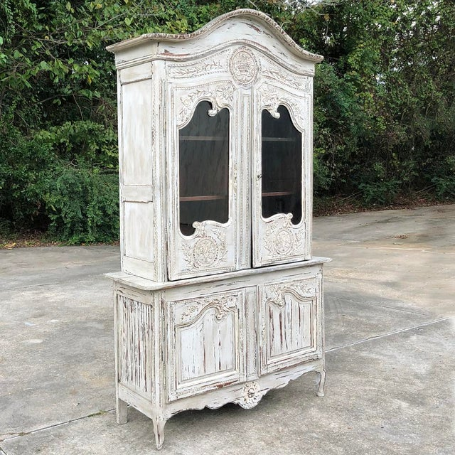 French 18th Century Country French Painted Bookcase ~ Buffet a Deux Corps For Sale - Image 3 of 13