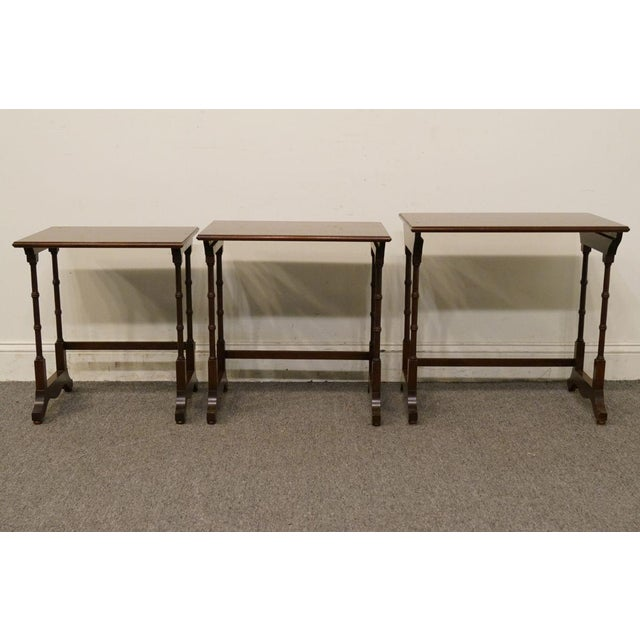 Brown Ethan Allen Georgian Court Nesting End / Accent Tables - Set of 3 For Sale - Image 8 of 13