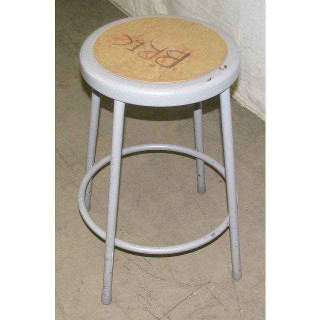 Metal Gray Stool For Sale - Image 5 of 7