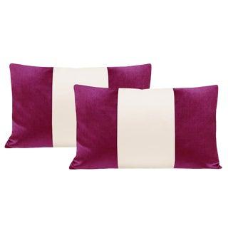 """12""""x18"""" Magenta Velvet & Alabaster Silk Panel Lumbar Pillows - a Pair For Sale"""