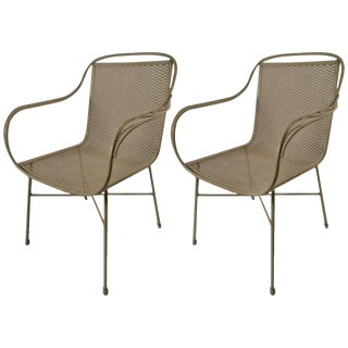 Pair of Salterini Metal Mesh Chairs For Sale