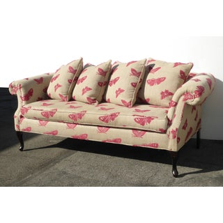 Vintage Sofa Pink Butterflies on Beige Linen French Country Couch Down Feathers Preview