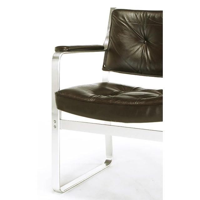 Brown Pair Karl-Erik Ekselius Leather and Aluminum Mondo Armchairs For Sale - Image 8 of 9
