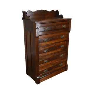 Antique Victorian Eastlake Walnut 5 Drawer High Chest For Sale