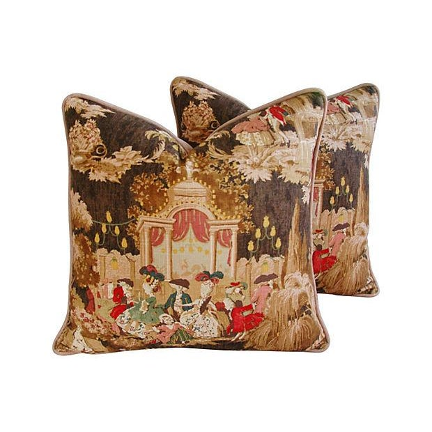 Designer French Versailles Toile Pillows - Pair - Image 1 of 7
