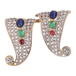 Valentino Diamante Earrings with Jewel Tone Cabochon Accents - A Pair For Sale