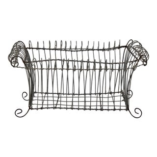 Antique French Jardiniere Footed Wire Basket For Sale