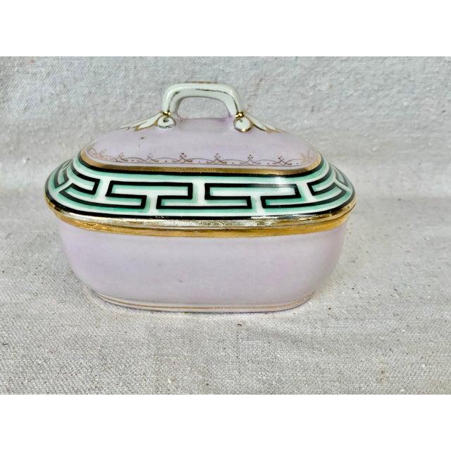 Ceramic Antique Small Greek Key Vanity Box For Sale - Image 7 of 11