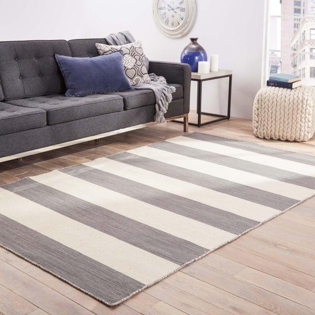 2010s Jaipur Living Tierra Handmade Striped Gray/ White Area Rug - 8′ × 10′ For Sale - Image 5 of 6