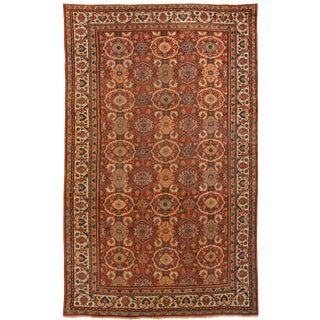 1930s Antique Sultanabad Persian Rug With Oval Floral Patterns in Ivory and Red For Sale