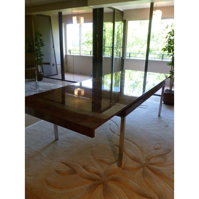 1970's Vintage Milo Baughman Style Burl-wood & Chrome Dining Table For Sale - Image 9 of 13