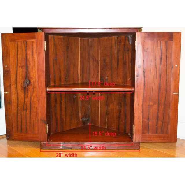 Antique Railroad Hand Carved Red Jarrah Wood Corner Bookcase - Image 10 of 13