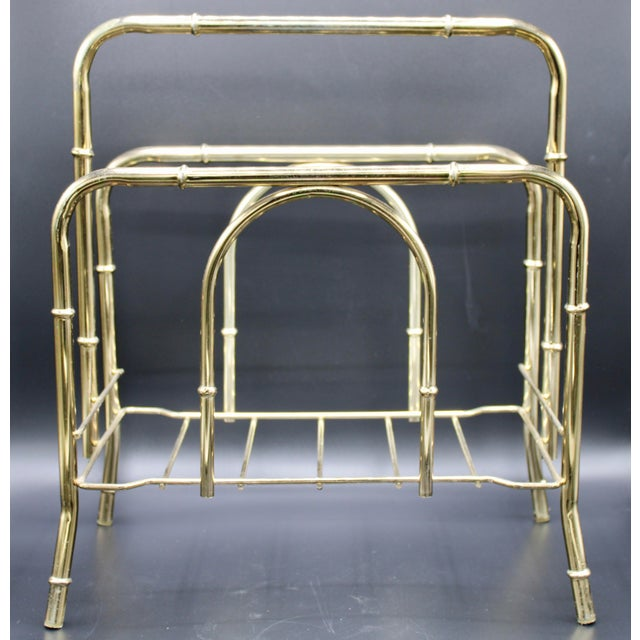 Vintage Brass Bamboo Magazine Rack, Newspaper Stand, Book Shelf, or File Holder with overarching carrying handle. A great...
