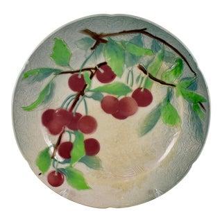 St. Clément Keller & Guerin French Faïence Cherry Fruit Plate For Sale